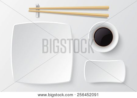Chopsticks And Empty Sushi Plate. Asian Restaurant Dishes Vector Mockup. Japanese Plate Restaurant F