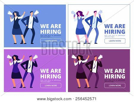 We Are Hiring Concept. Man And Woman With Megaphone Shouting For Interview. Business Recruitment Vec