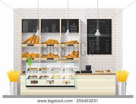 Interior Scene Of Modern Bakery Shop With Display Counter , Vector , Illustration