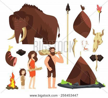 Caveman. Cartoon Neolithic People Characters. Prehistoric Neanderthal Family With Animals And Weapon