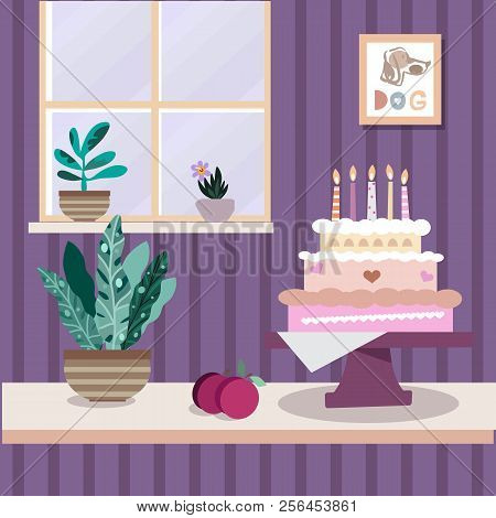 Interior With Flowers And Cake. Home Modern Apartment Design . Painting, Window And Box. Cartoon Fla