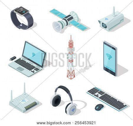 Electronic Devices. Isometric Wireless Gadgets Connection. Remote Controller, Cell Phone Router. Con