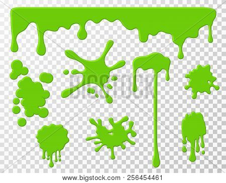 Dripping Slime. Green Goo Dripping Liquid Snot, Blots And Splashes. Cartoon Slime Splodges Vector Se
