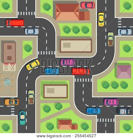 Seamless City Map. Top View Building And Street With Cars And Trucks. Urban Plan Vector Endless Text
