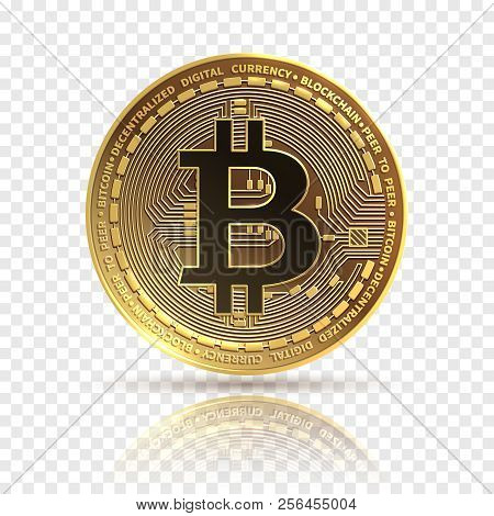 Bitcoin. Golden Cryptocurrency Coin. Electronics Finance Money Symbol. Blockchain Bitcoin Isolated I