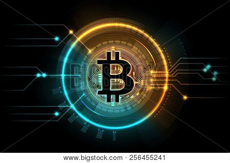 Gold Bitcoin. Mining Business Symbol, Internet Exchange Digital Market. Cryptocurrency, Blockchain T