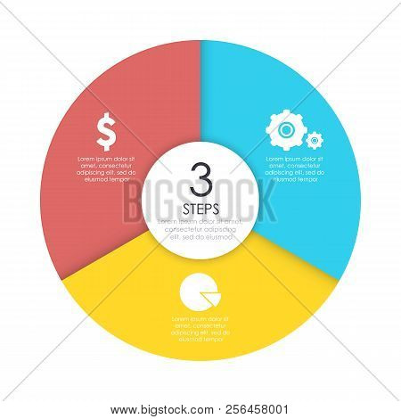 Round Infographic Diagram. Circles Of 3 Elements Or Steps. Vector Eps10