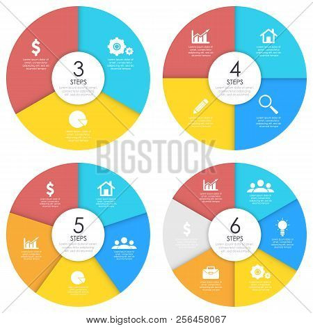 Set Of Round Infographic Diagram. Circles Of 3, 4, 5, 6 Elements Or Steps. Vector Eps10