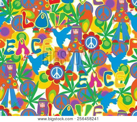 Background In The Style Of 60x. Psychedelic Seamless Pattern. Hippie, Cannabis Leaves, Flowers, A Sy