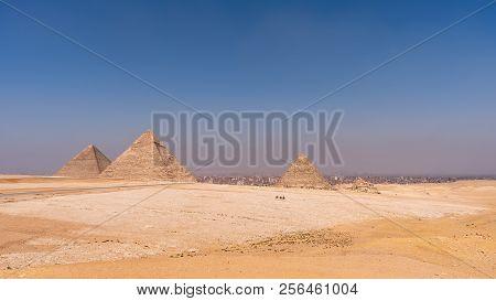 The Three Pyramids Of The Necropolis Of Giza, Khufu (cheops), Khafra And Mankawra, Outside Cairo, Eg
