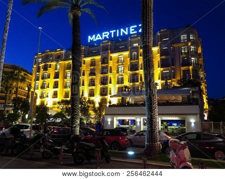 Cannes, France - July 12, 2018: Night View Of Hotel Martinez Facade. Martinez Is A Luxury Hotel Wher