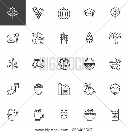 Autumn Elements Outline Icons Set. Linear Style Symbols Collection, Line Signs Pack. Vector Graphics