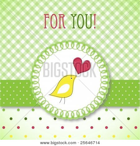 Cute bird greeting card, raster version also available in my portfolio