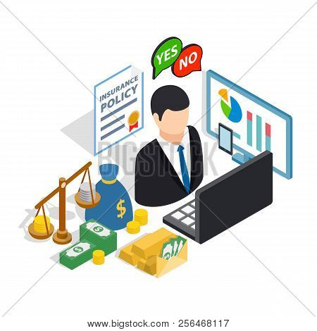 Broker Clip Art Set. Isometric Clip Art Of Broker Concept Vector Icons For Web Isolated On White Bac