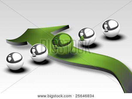 Five metallic spheres with green arrow, vector illustration