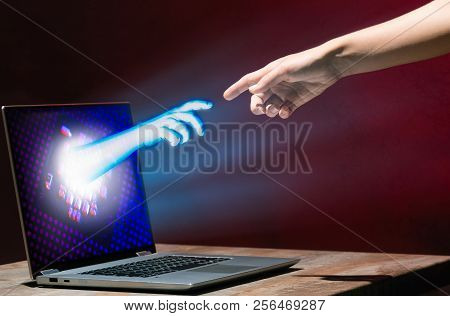 Hands Of Artificial Intelligence And Human Are Touching. Virtual Reality Or Artificial Intelligence