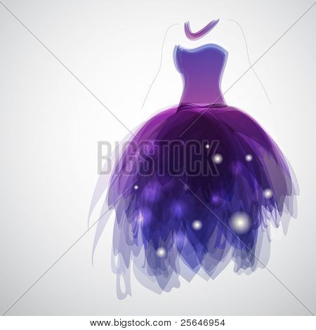 Woman silhouette with gorgeous dress