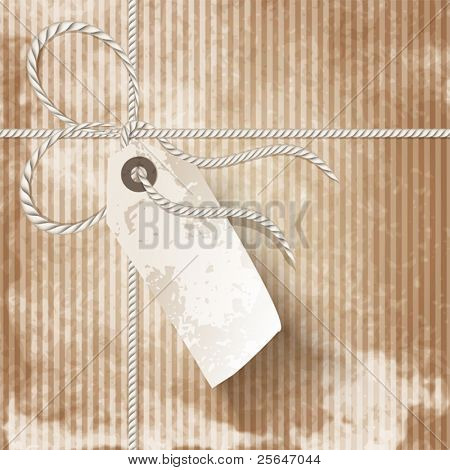 Close up of vintage parcel post with tag