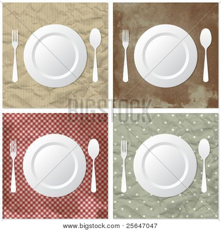 Four table set on crumpled or dirty paper