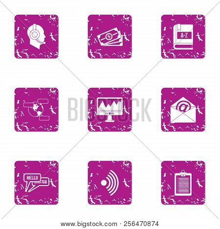 Cash Acceptance Icons Set. Grunge Set Of 9 Cash Acceptance Vector Icons For Web Isolated On White Ba