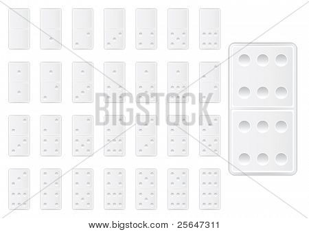 white domino game  blocks, numbers from one to six