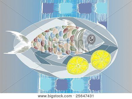 doodle fish dish with lemons