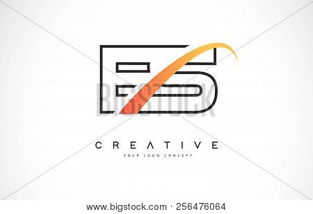 Es E S Swoosh Letter Logo Design With Modern Yellow Swoosh Curved Lines Vector Illustration.