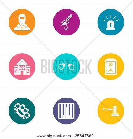 Delinquency Icons Set. Flat Set Of 9 Delinquency Vector Icons For Web Isolated On White Background