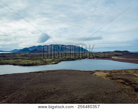 aerial view of beautiful bay with mountains on background, snaefellsnes, iceland poster