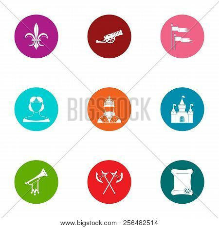 Medieval Feat Icons Set. Flat Set Of 9 Medieval Feat Vector Icons For Web Isolated On White Backgrou