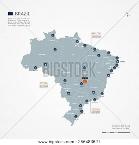 Brazil Map With Borders, Cities, Capital And Administrative Divisions. Infographic Vector Map. Edita
