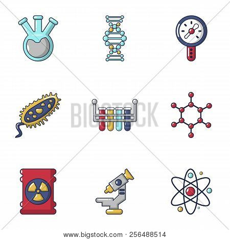 Biochemistry icons set. Cartoon set of 9 biochemistry vector icons for web isolated on white background poster