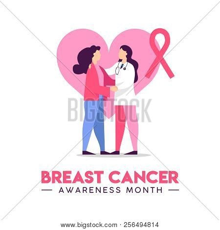 Breast Cancer Awareness Illustration Of Doctor Checkup With Woman Patient In Pink Colors, Health Car