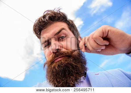 Man Bearded Hipster With Mustache Sky Background. Ultimate Beard And Moustache Grooming Guide. Exper