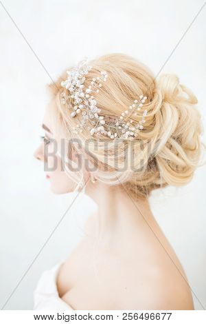 Beauty Wedding Hairstyle. Bride. Beautiful Hairstyle Rear View.