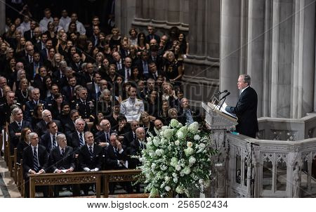 Washington D.c., Usa - Sep. 01, 2018: Former U.s. President George Bush Spoke At The Memorial Servic