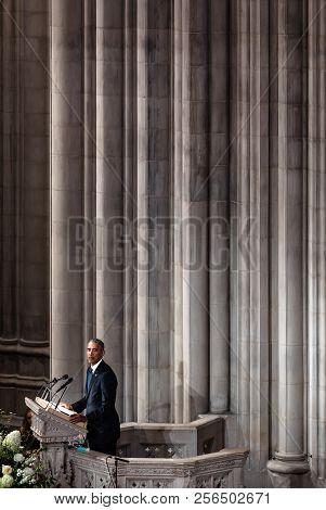 Washington D.c., Usa - Sep. 01, 2018: Former U.s. President Barack Obama Spoke At The Memorial Servi