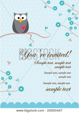 Owl Baby Boy Invitation Card