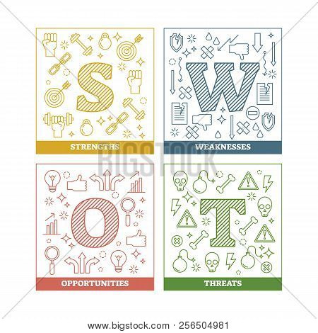 Swot Analysis Outline Vector Illustration Diagram With Symbols For Presentation.colorful Isolated Le