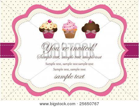Cupcake retro invitation