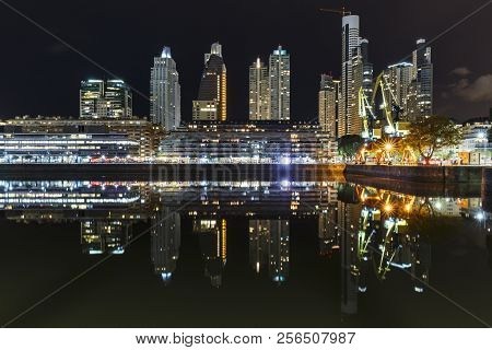 The famous neighborhood of Puerto Madero in Buenos Aires, Argentina at night.