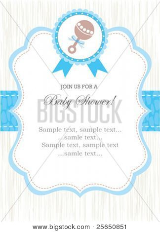 Boy rattle shower invitation