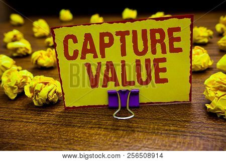 Word Writing Text Capture Value. Business Concept For Customer Relationship Satisfy Needs Brand Stre