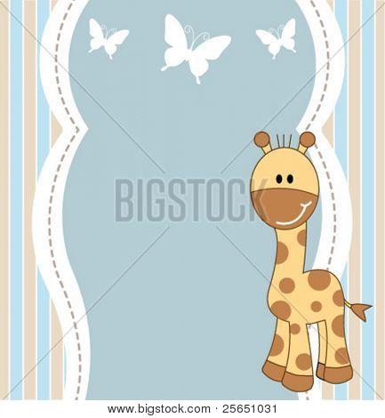 Cute baby boy giraffe card
