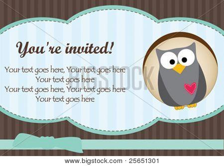 Owl baby boy card