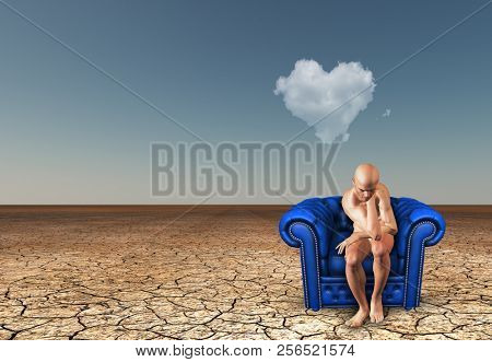 Man contemplates in desert with heart shaped cloud. 3D rendering