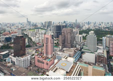 cityscape skyline, Thailand. Bangkok is metropolis and favorite of tourists live at between modern building poster