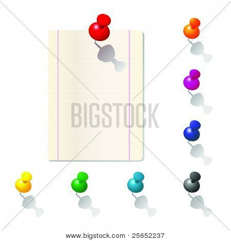 Vector illustration of push pin collection with  note paper