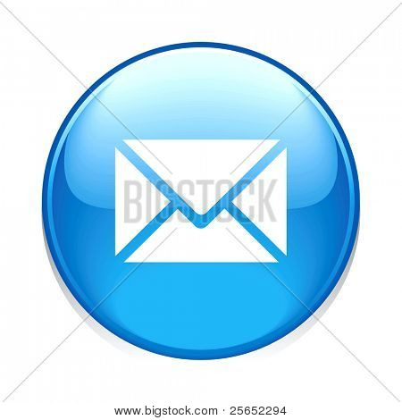 e e-Mail Kreissymbol blaue Taste isoliert auf weiss
