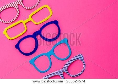 Set Of Colorful Photo Booth Eyeglasses On Pink Background With Copy Space